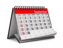 Kalender voor September Geïsoleerde 3d illustratie royalty-vrije illustratie