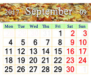 Kalender voor September 2017 met gele bladeren Royalty-vrije Stock Fotografie