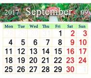 Kalender voor September 2017 met paddestoeleekhoorntjesbrood Stock Afbeeldingen