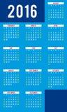 Kalender voor 2016 - vectormalplaatje Royalty-vrije Stock Fotografie