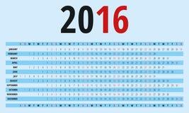 Kalender voor 2016 - vectormalplaatje Stock Afbeelding