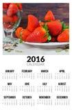 Kalender voor 2016 Zoete strawberies Stock Foto's