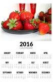Kalender voor 2016 Zoete strawberies Stock Foto