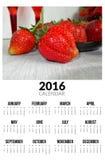 Kalender voor 2016 Zoete strawberies Stock Afbeeldingen