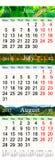Kalender voor zomermaanden 2017 met gekleurde beelden Stock Foto