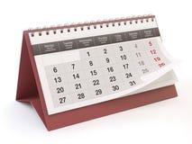 Kalender, witte achtergrond, 3D illustratie royalty-vrije illustratie