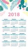 Kalender 2018 Woche beginnt Sonntag Satz von 12 Monaten Stockfotografie