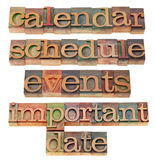 Kalender, Zeitplan, wichtiges Datum Lizenzfreies Stockbild