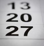 Kalender zevenentwintig royalty-vrije stock foto's