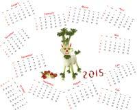 Kalender 2015 Ziege gemacht vom Gemüse Stockfotografie