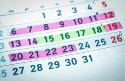 Kalender, zwangerschap plannende, gevaarlijke en veilige dagen royalty-vrije stock foto's