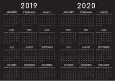 2019-2020 Kalender Zwarte Backgrounded stock afbeelding