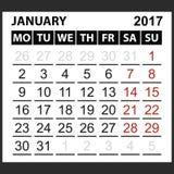 Kalenderark Januari 2017 vektor illustrationer