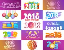 2018 kalenderChristmass för det lyckliga nya året text för feriekalendertryck färgade den nyfödda partiillustrationen för designe Arkivfoton