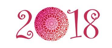 2018 kalenderChristmass för det lyckliga nya året text för feriekalendertryck färgade den nyfödda partiillustrationen för designe Fotografering för Bildbyråer