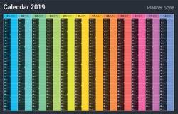 Kalenderdesign des Planer-2019 Farbenreiche Art des Vektors Sonntags-Wochenende lizenzfreie abbildung