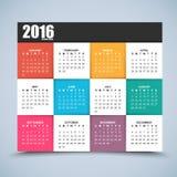 Kalenderdesign 2016-jährig Lizenzfreies Stockfoto