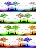 Kalenderdesign med det abstrakta trädet på äng stock illustrationer