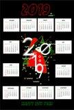 kalenderdesign 2019 med svart bakgrund stock illustrationer