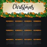 kalenderdesignmall 2019 av garnering f?r jul eller f?r nytt ?r vektor illustrationer