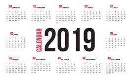Kalenderentwurf für 2019 lizenzfreie abbildung