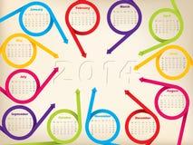 2014 Kalenderentwurfs-Pfeilbänder und Schattenjahr Stockfotografie