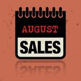 Kalenderetiket met de woorden binnen geschreven August Sales Royalty-vrije Stock Foto's