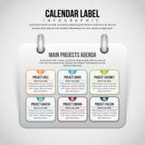 Kalenderetikett Infographic Arkivbild