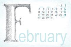 Kalenderfebruar-Bleistifthandabgehobener betrag Vektor Abbildung
