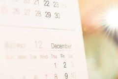 Kalenderfokus december Royaltyfri Bild