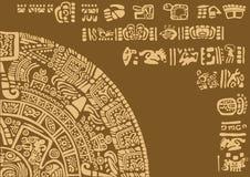Kalenderfragment van oude beschavingen stock afbeeldingen