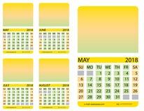 Kalendergitter may juni juli august Lizenzfreie Stockbilder