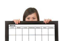 kalenderholdingkvinna Fotografering för Bildbyråer