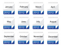 Kalenderikone mit Monaten Stockfotografie