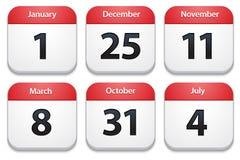 Kalenderikonen mit Feiertagsdaten Stockbild