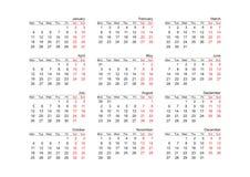 Kalenderjaar 2010 (vector) Stock Foto