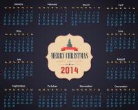 Kalenderjaar 2014 Vectormalplaatje Stock Illustratie