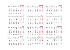 Kalenderjahr 2010 (Vektor) Stockfoto