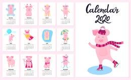 12 kalenderkort med roliga svin för varje månad av året 2020 Gulligt piggy i åka skridskor för lock och för halsduk stock illustrationer