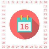 Kalenderlägenhet royaltyfri illustrationer