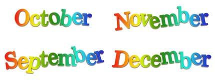 kalendermånadar vektor illustrationer