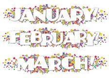 Kalendermånader dekorativ Januari Februari för informationsblad mars royaltyfri illustrationer