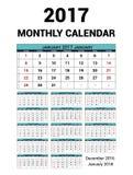 Kalendermånadstidning för 2017 år Mall för tryck för vektorbrevpapperdesign Veckan startar söndag 14Months - december 2016 - royaltyfri illustrationer