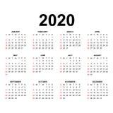Kalendermall 2020 stock illustrationer