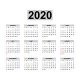 Kalendermall 2020 vektor illustrationer