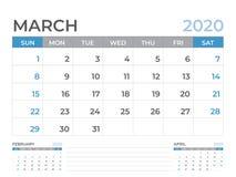 Kalendermall för mars 2020, format för skrivbordkalenderorientering 8 x 6 tum, stadsplaneraredesign, veckastarter på söndag, brev stock illustrationer