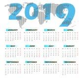 Kalendermall för vektor 2019 med världskartan Fotografering för Bildbyråer