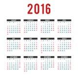 Kalendermallar för vektor 2016 Arkivfoton