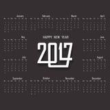 2017 Kalendermalplaatje Kalender voor het jaar van 2017 Stock Foto's
