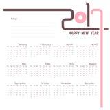 2017 Kalendermalplaatje Kalender voor het jaar van 2017 Royalty-vrije Stock Foto